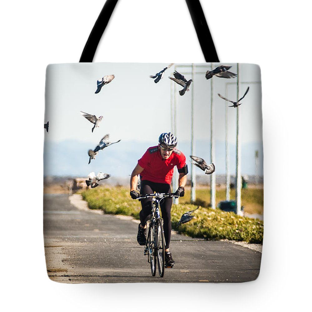 Bike Tote Bag featuring the photograph Scattering The Pigeons by Alex Lapidus