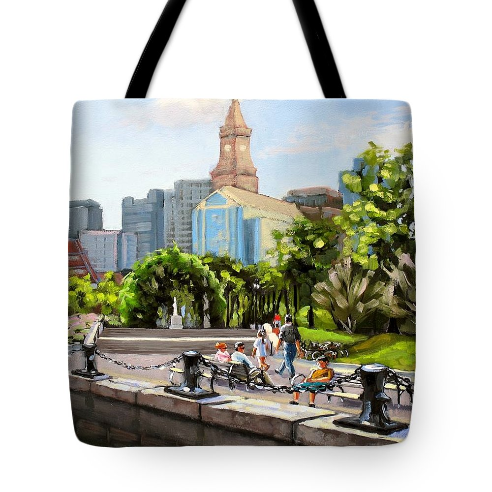 Waterfront Tote Bag featuring the painting Scenic Boston by Laura Lee Zanghetti