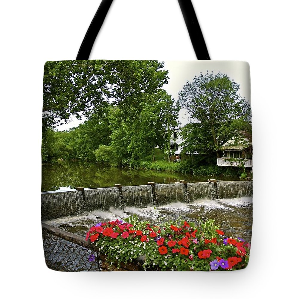 Romantic Tote Bag featuring the photograph Scenic Falls by Customikes Fun Photography and Film Aka K Mikael Wallin