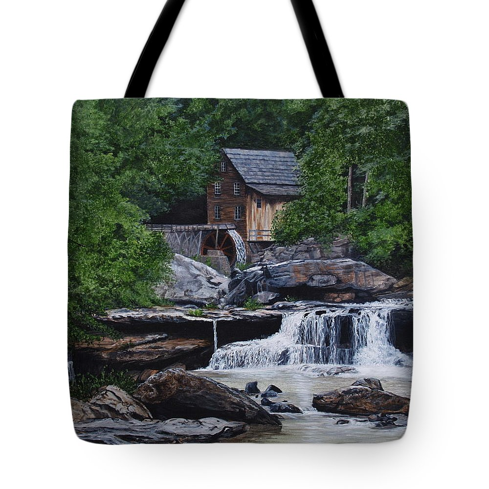 Grist Mill Tote Bag featuring the painting Scenic Grist Mill by Vicky Path