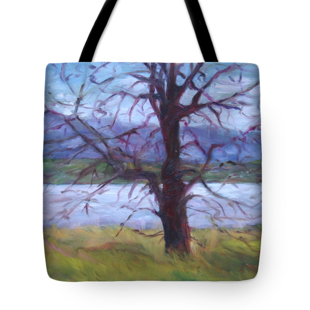 Water Tote Bag featuring the painting Scenic Landscape Painting Through Tree - Spring Has Sprung - Color Fields - Original Fine Art by Quin Sweetman