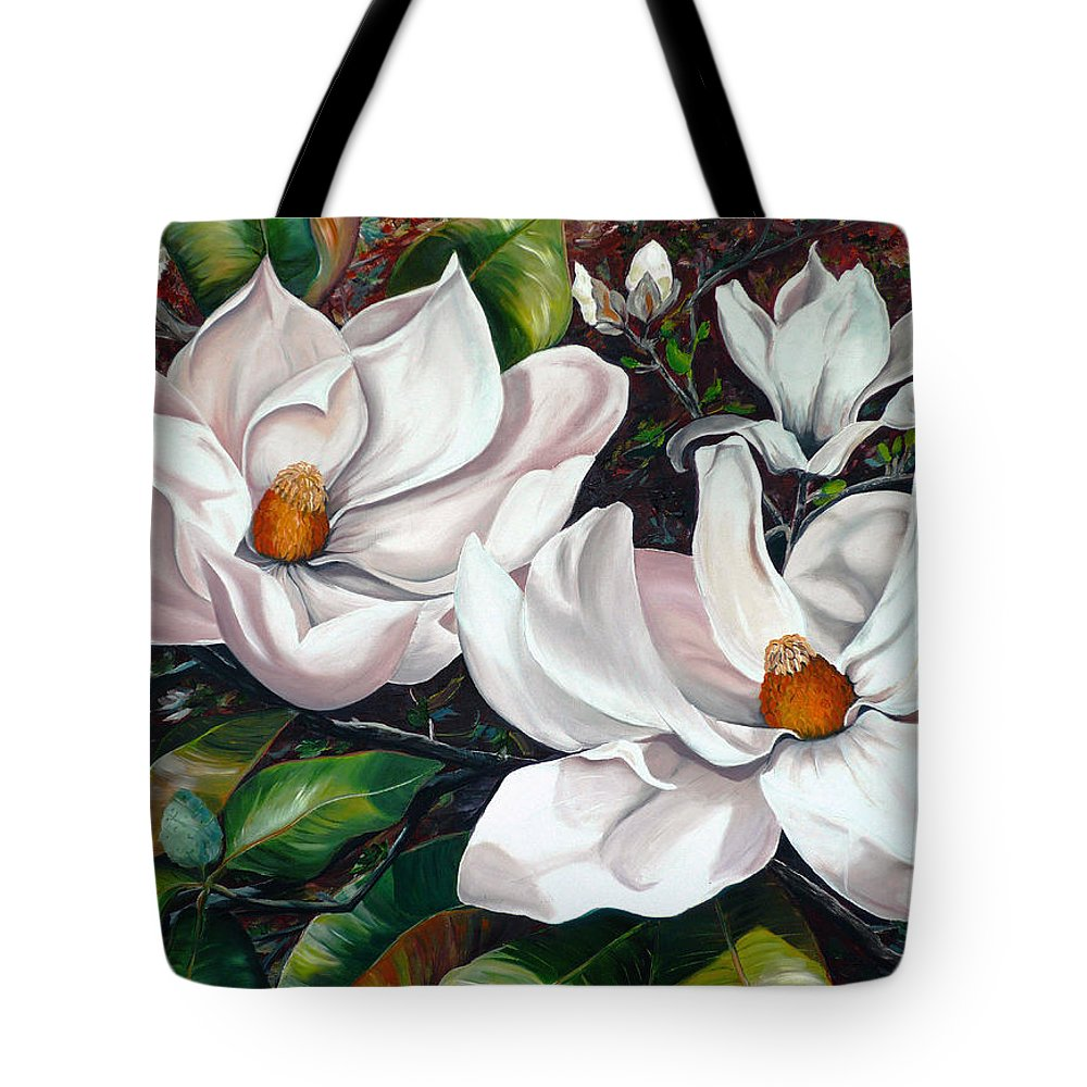 Magnolia Painting Flower Painting Botanical Painting Floral Painting Botanical Bloom Magnolia Flower White Flower Greeting Card Painting Tote Bag featuring the painting Scent Of The South. by Karin Dawn Kelshall- Best