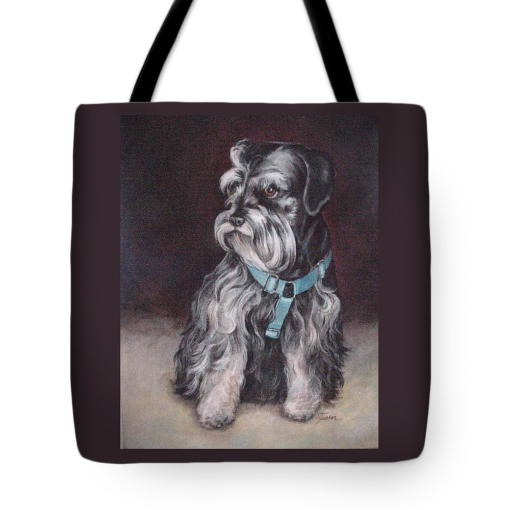 Nature Tote Bag featuring the painting Schnauzer by Donna Tucker