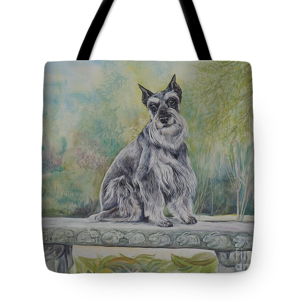 Schnauzer Tote Bag featuring the painting Schnauzer In Garden by Gail Dolphin