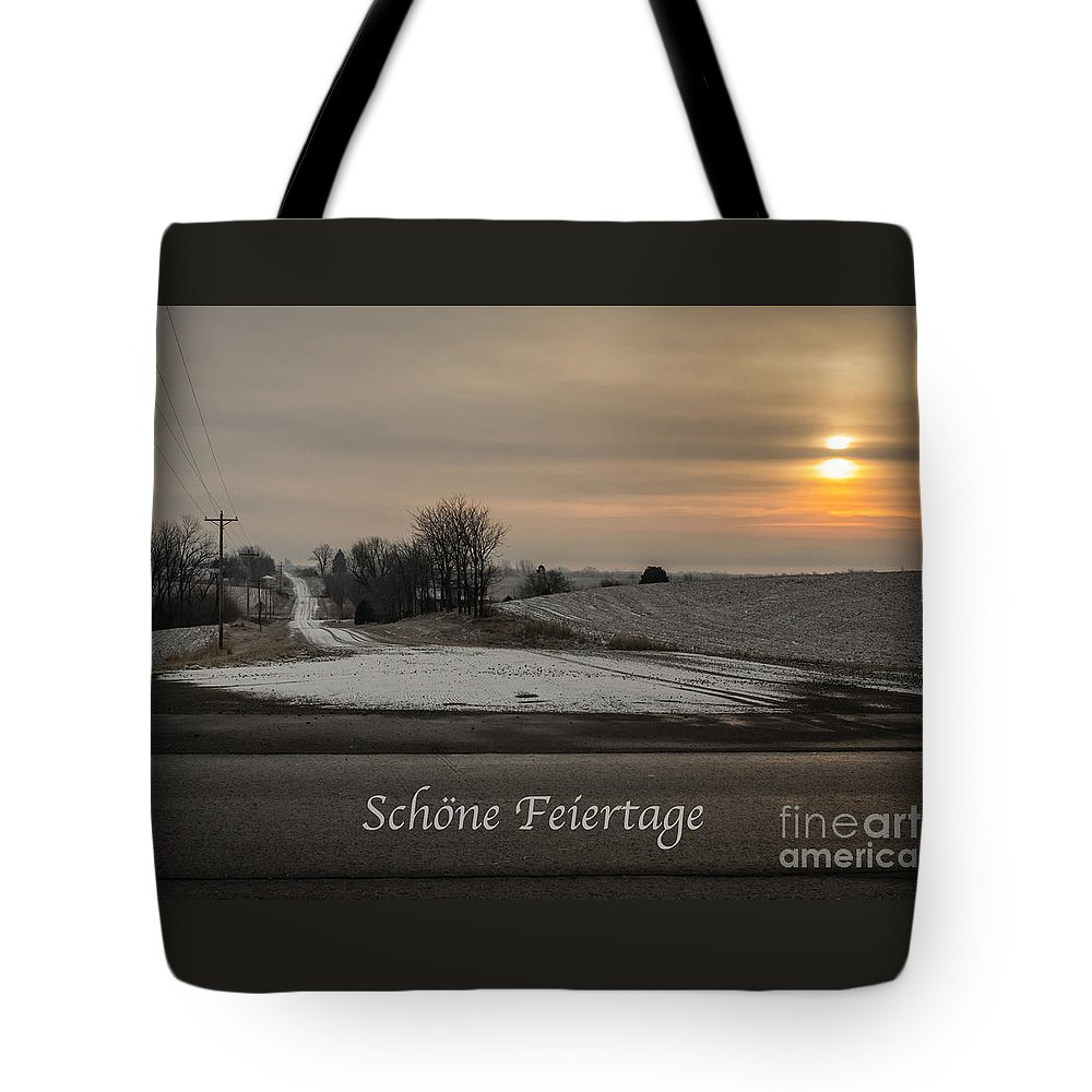 German Tote Bag featuring the photograph Schone Feiertage With A Winter Sunrise by Imagery by Charly