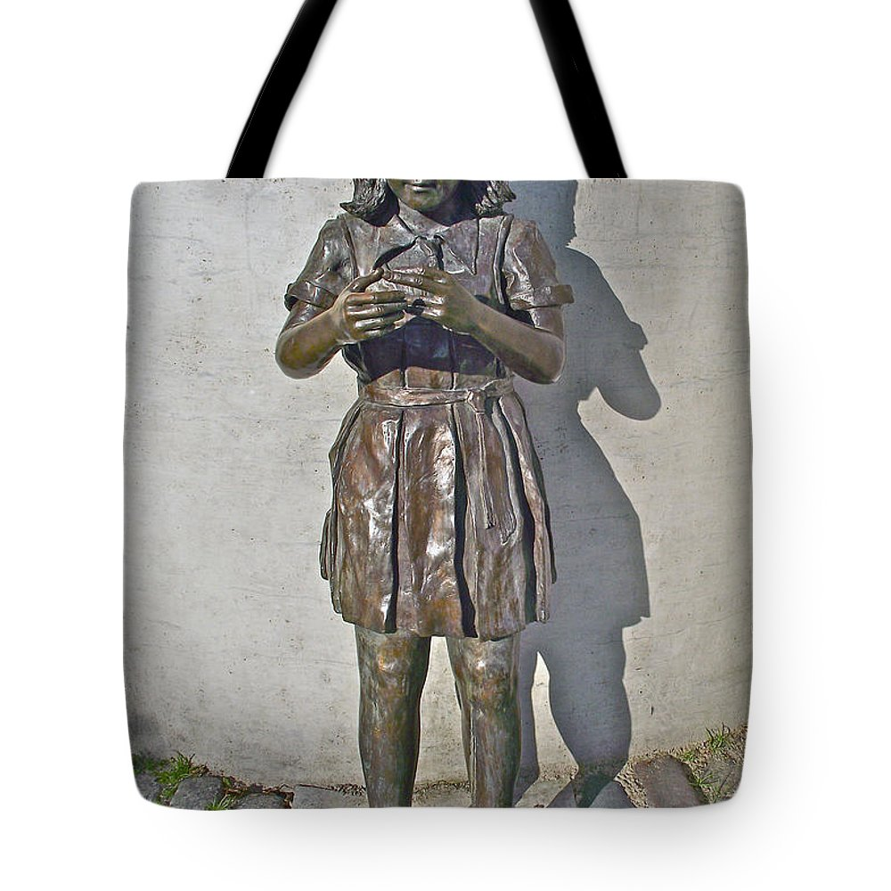 School Girl Sculpture In Saint John's Tote Bag featuring the photograph School Girl Sculpture In Saint John's-nl by Ruth Hager