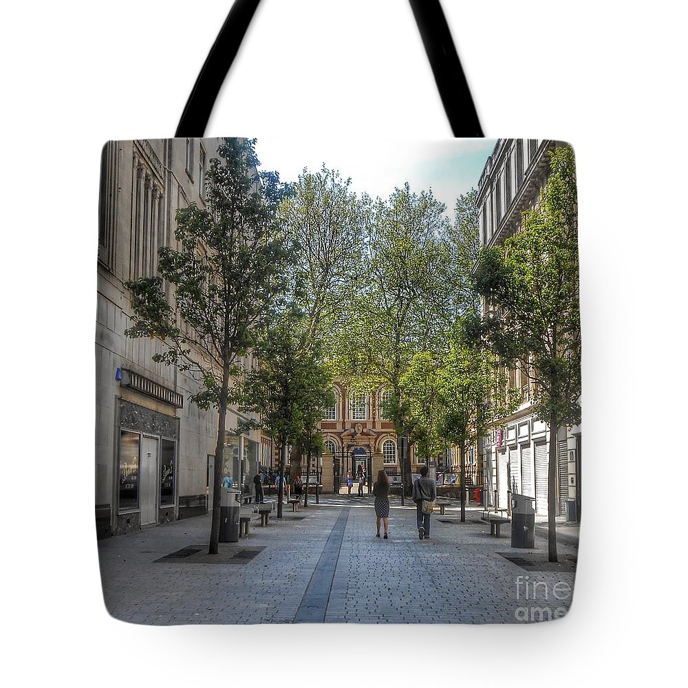 The Bluecoat Galleries Tote Bag featuring the photograph School Lane by Joan-Violet Stretch