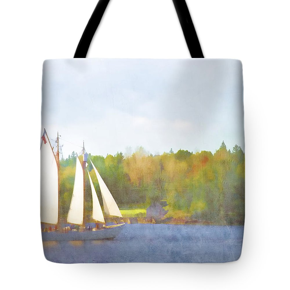 Schooner Tote Bag featuring the photograph Schooner Castine Harbor Maine by Carol Leigh