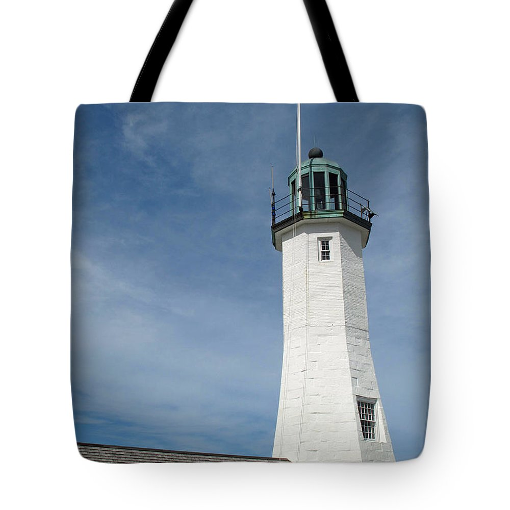 Lighthouse Tote Bag featuring the photograph Scituate Light Four by Barbara McDevitt