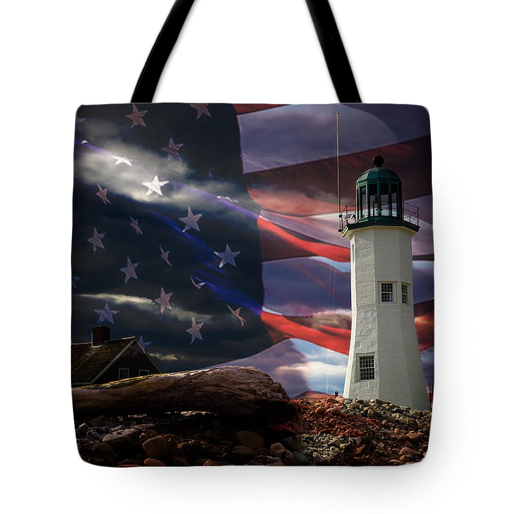 Lighthouses Of New England Tote Bag featuring the photograph Scituate Strong Protecting American Shoreline by Jeff Folger