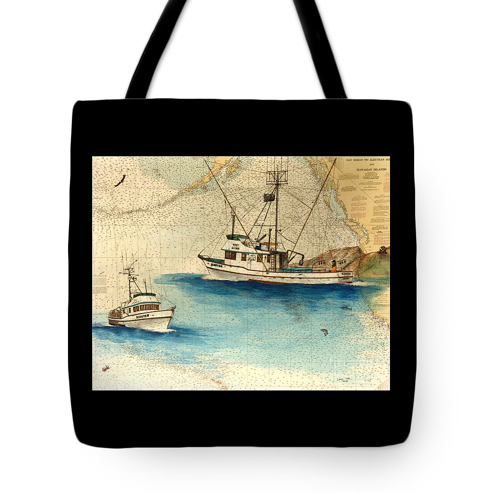 Scotter Tote Bag featuring the painting Scooter Fishing Boat Nautical Chart Map Art by Cathy Peek