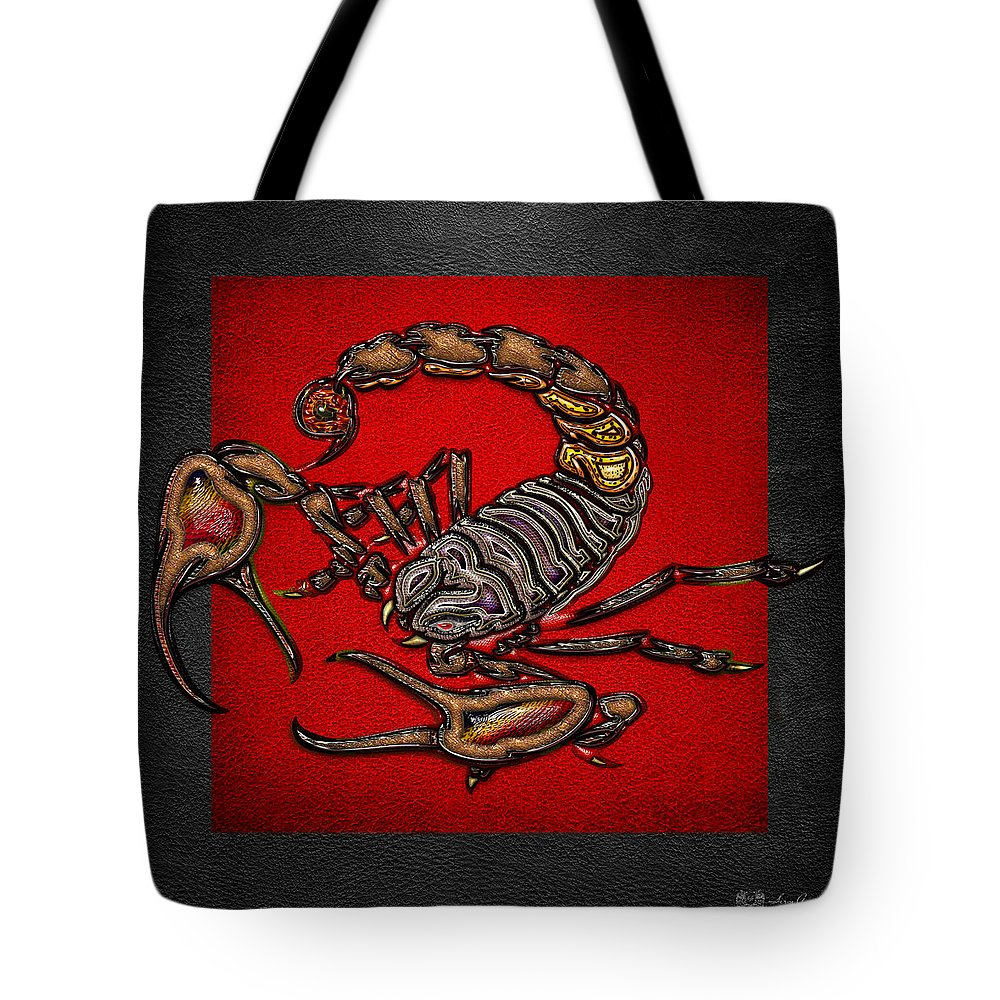 'beasts Creatures And Critters' Collection By Serge Averbukh Tote Bag featuring the digital art Scorpion On Red And Black Leather by Serge Averbukh