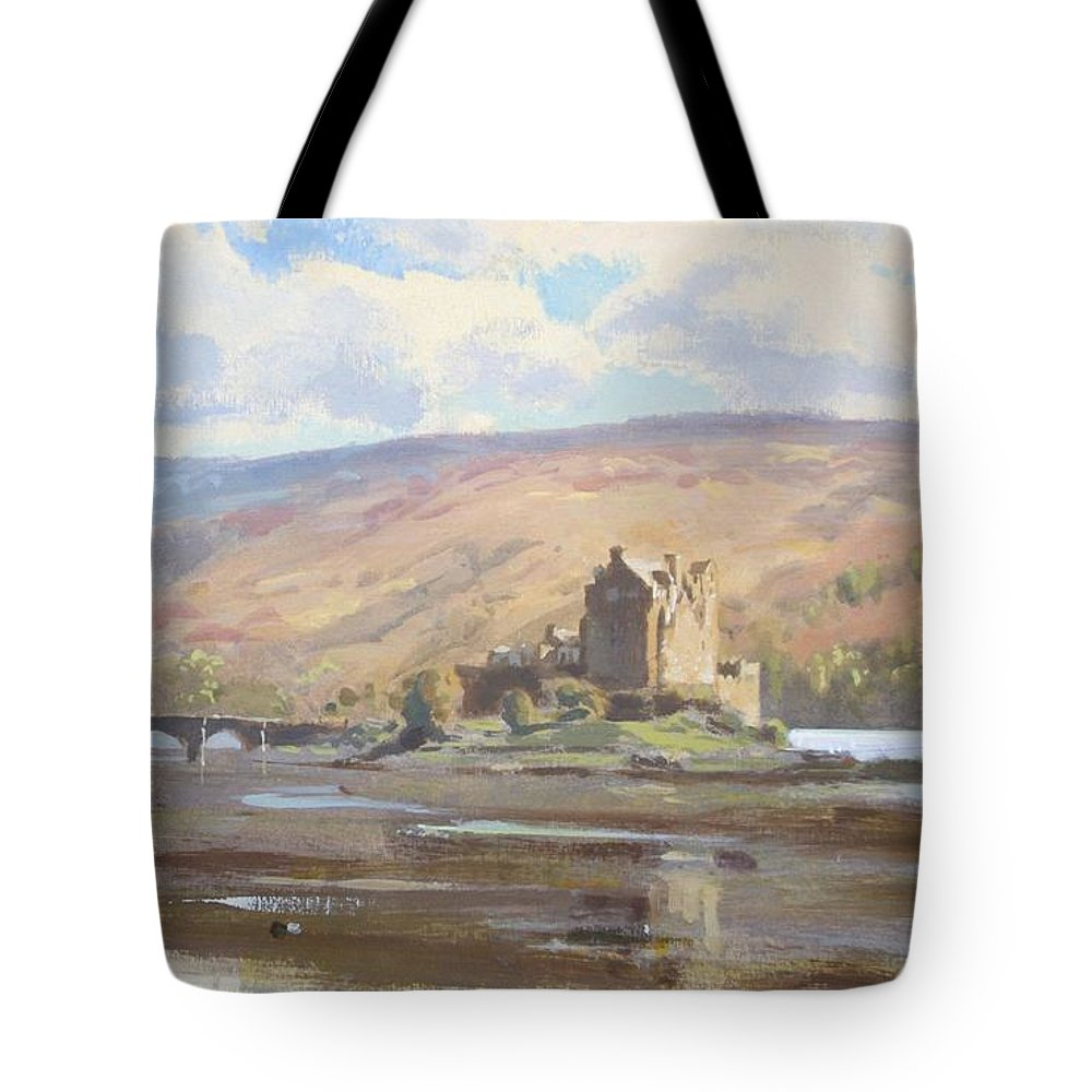 Castles Tote Bag featuring the pastel Scotish Castles by Derek Williams
