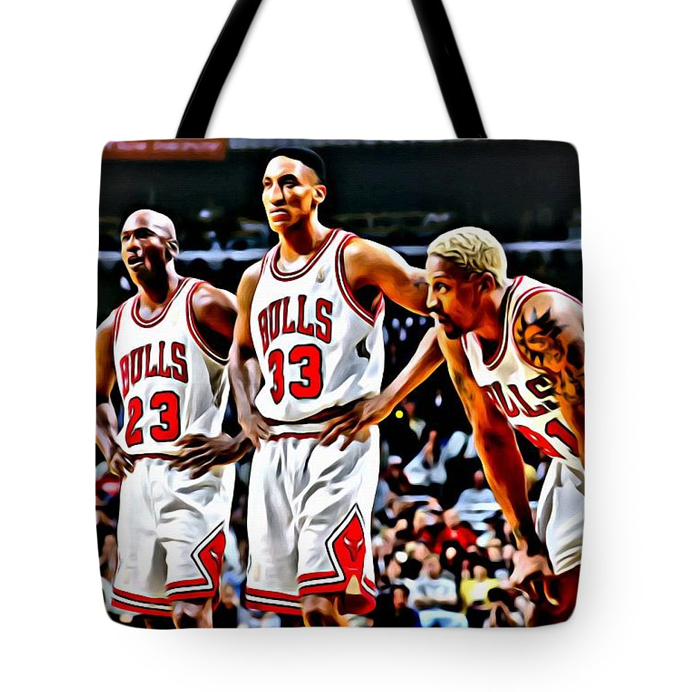 National Tote Bag featuring the painting Scottie Pippen With Michael Jordan And Dennis Rodman by Florian Rodarte