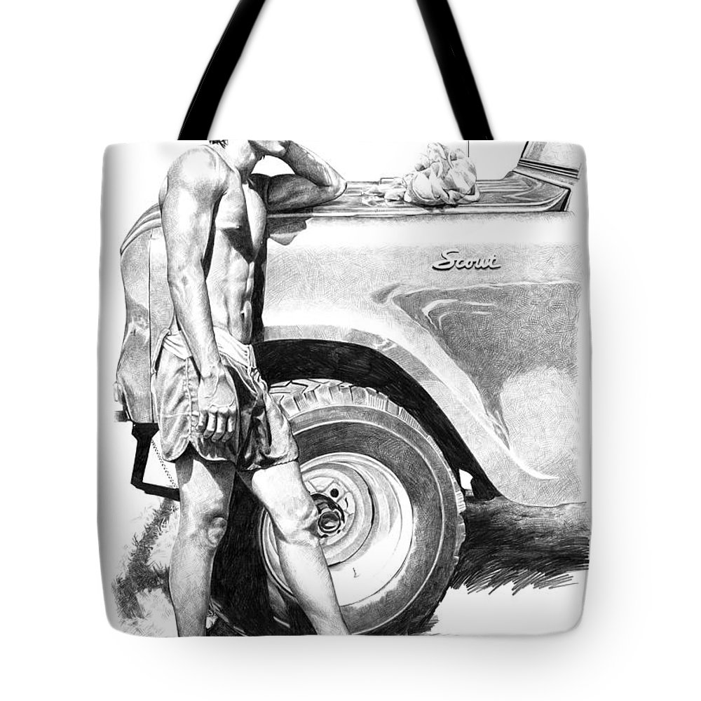 Hawaiian Tote Bag featuring the drawing Scout by Douglas Simonson