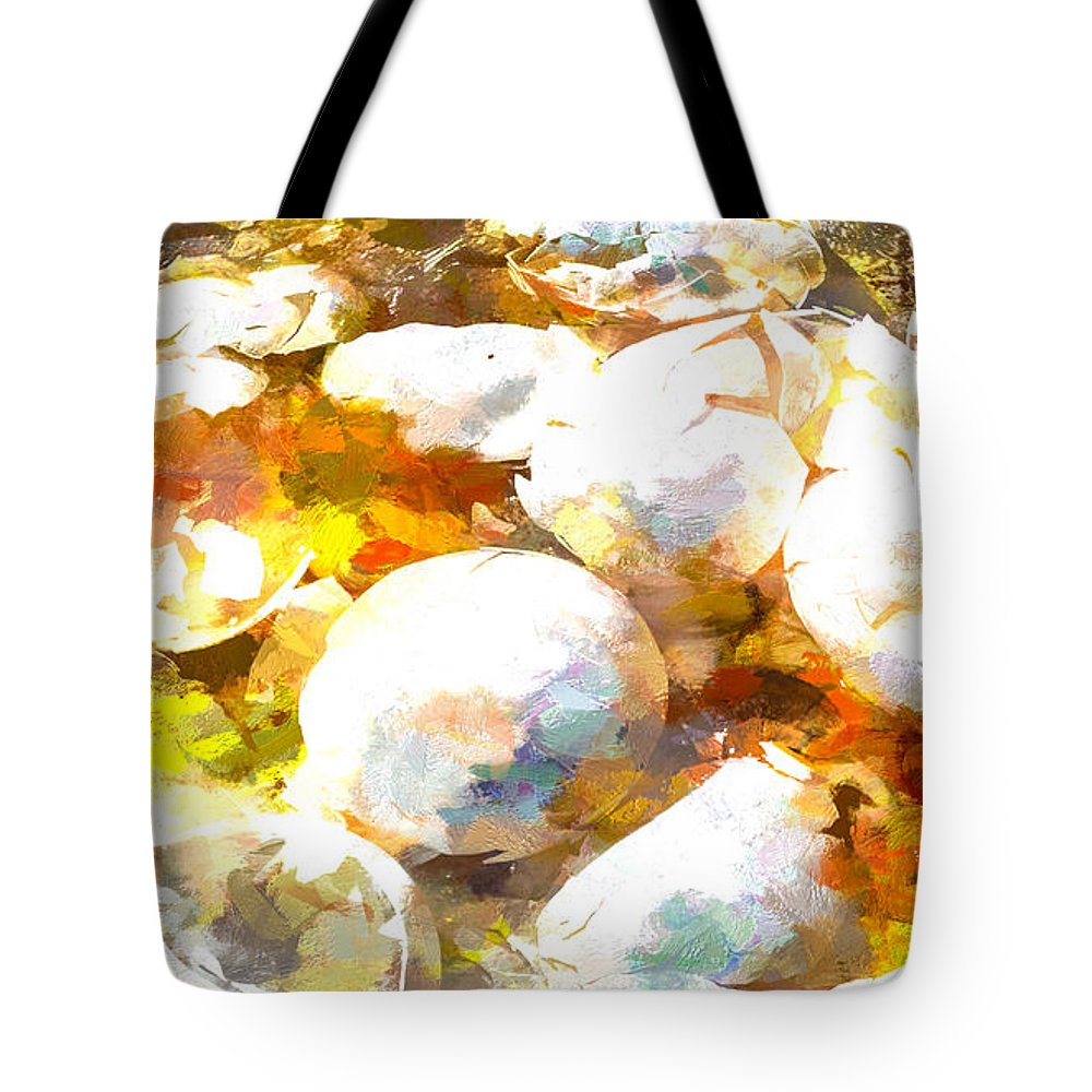 Abstract Tote Bag featuring the painting Scrambled Eggs by Bob Orsillo