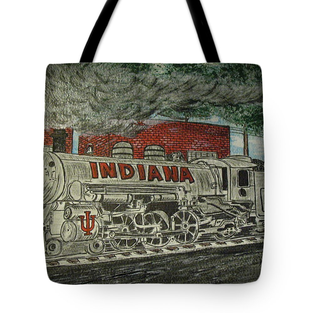 Scrapping Hoosiers Tote Bag featuring the painting Scrapping Hoosiers Indiana Monon Train by Kathy Marrs Chandler