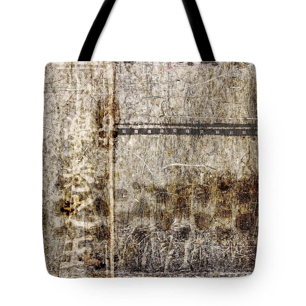 Abstract Tote Bag featuring the photograph Scratched Metal And Old Books Number 1 by Carol Leigh