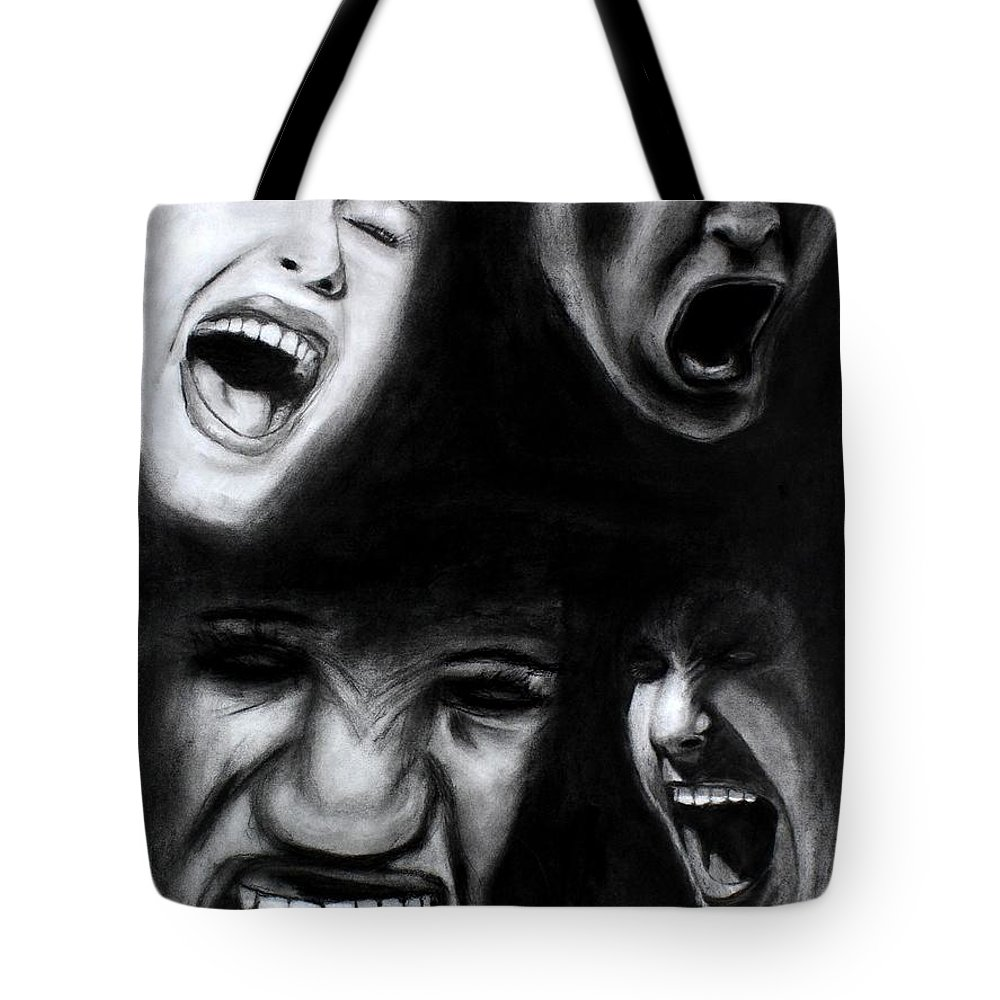 Scream Tote Bag featuring the drawing Scream by Michael Cross