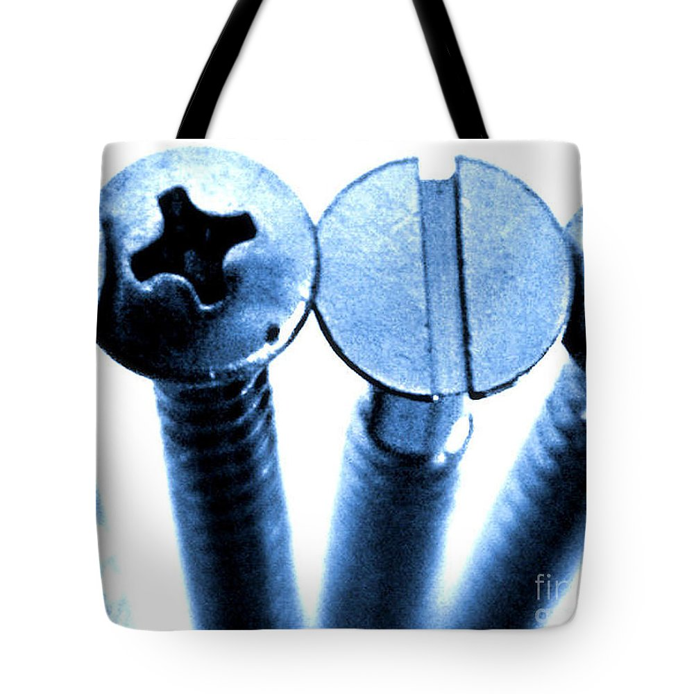 Metal Tote Bag featuring the photograph Screw Heads by Brian Raggatt