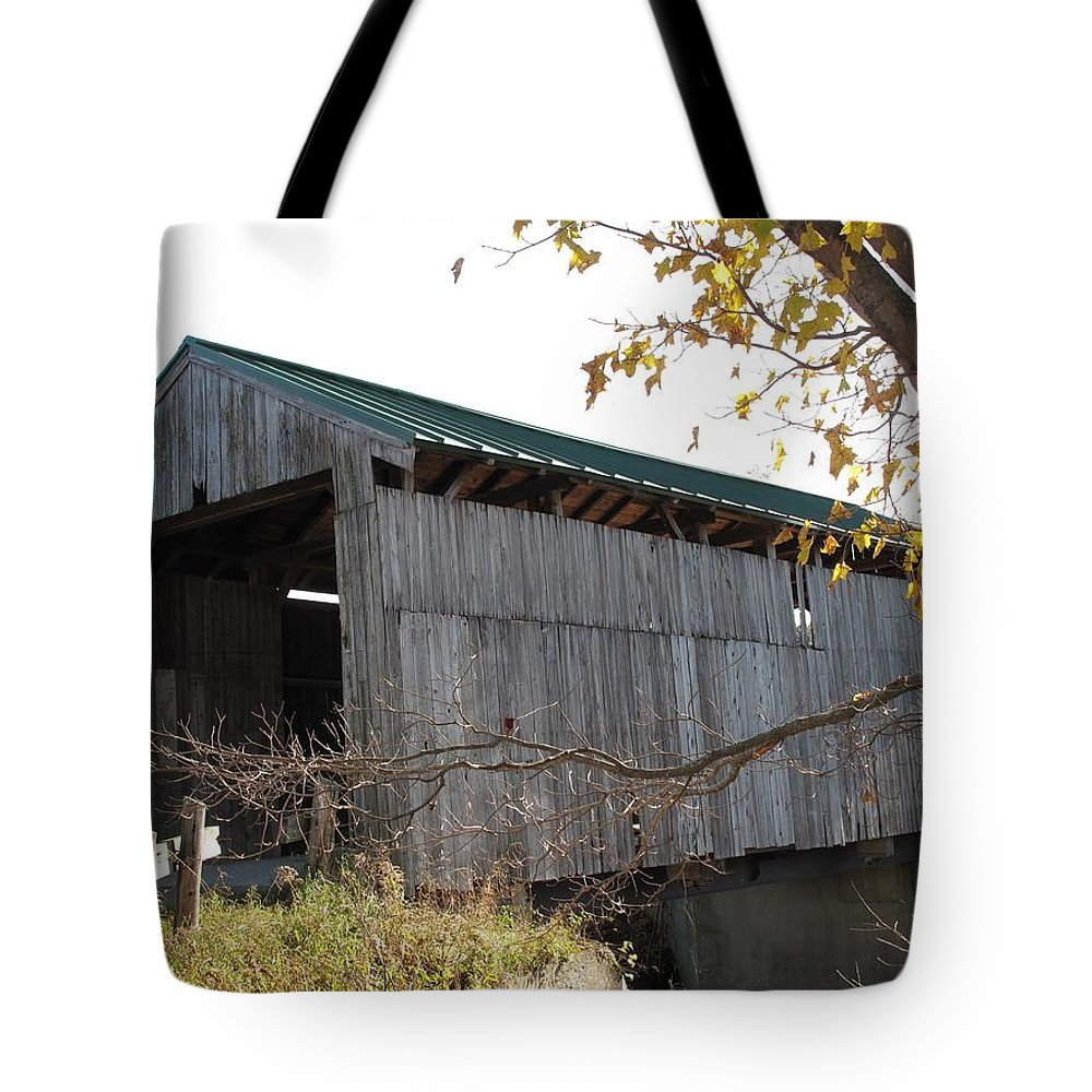 Covered Bridge Tote Bag featuring the photograph Scribner Bridge Johnson Vermont by Barbara McDevitt