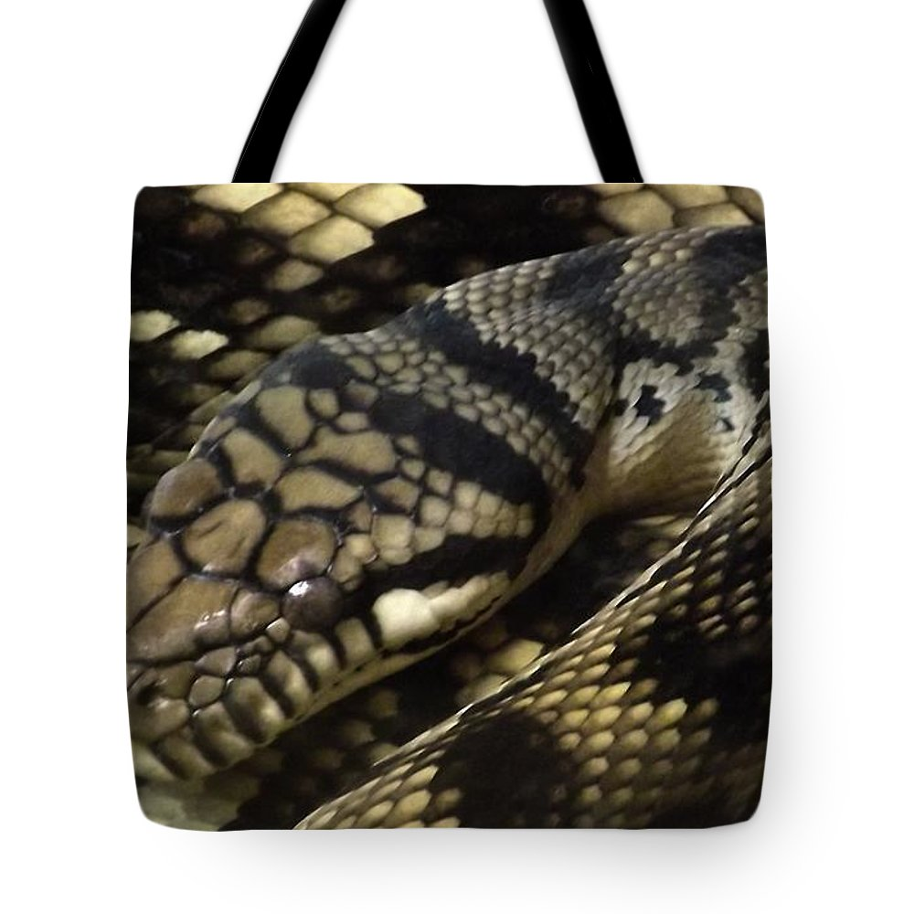 Snakes Tote Bag featuring the photograph Scrub Python Abstraction by Sara Raber