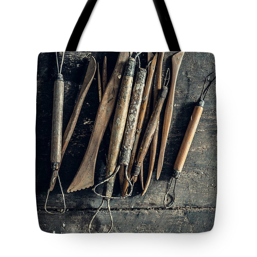 Art Tote Bag featuring the photograph Sculpting Tools by Alexd75