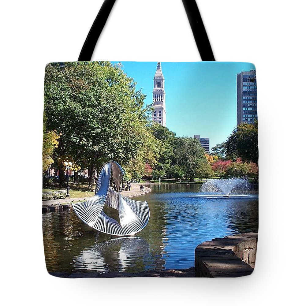 bushnell Park Tote Bag featuring the photograph Sculpture Hartford by Barbara McDevitt