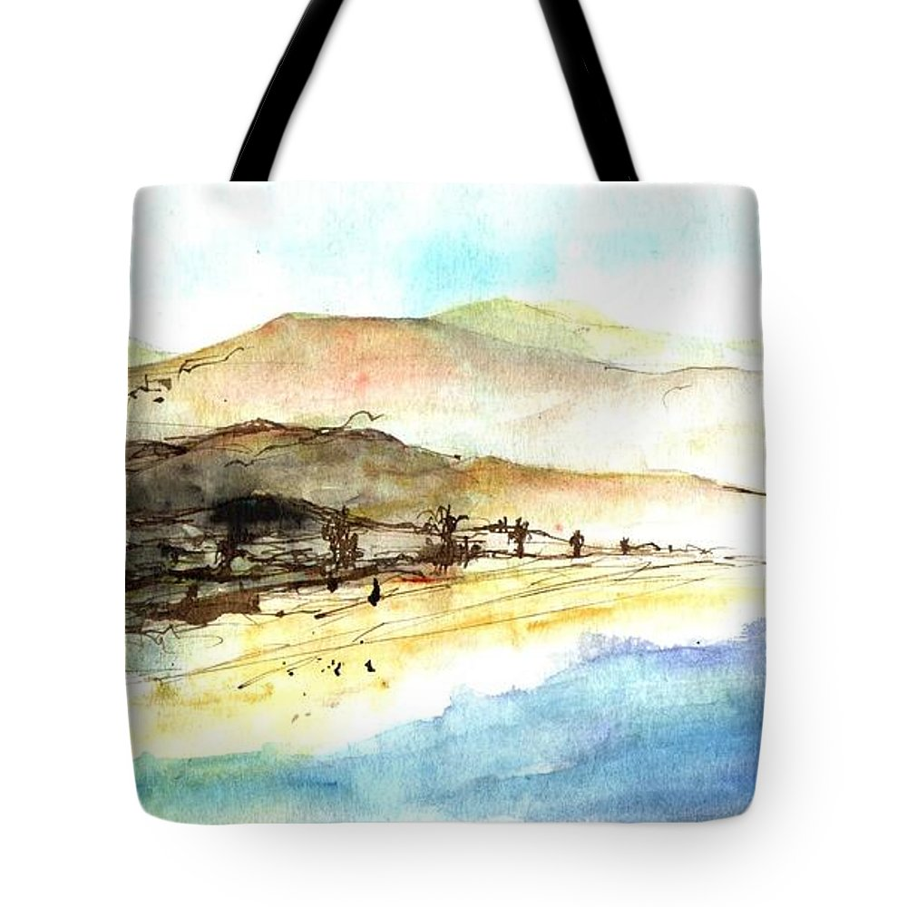 Ink Painting Tote Bag featuring the painting Sea And Mountains by Karina Plachetka
