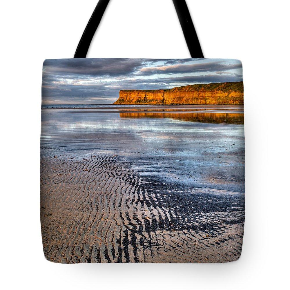 Sea Coal Tote Bag featuring the photograph Sea Coal Saltburn Sunset by Gary Eason