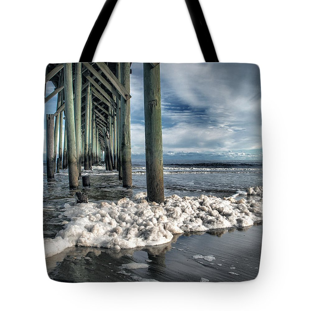 Pier Pier Scene Tote Bag featuring the photograph Sea Foam And Pier by Phil Mancuso