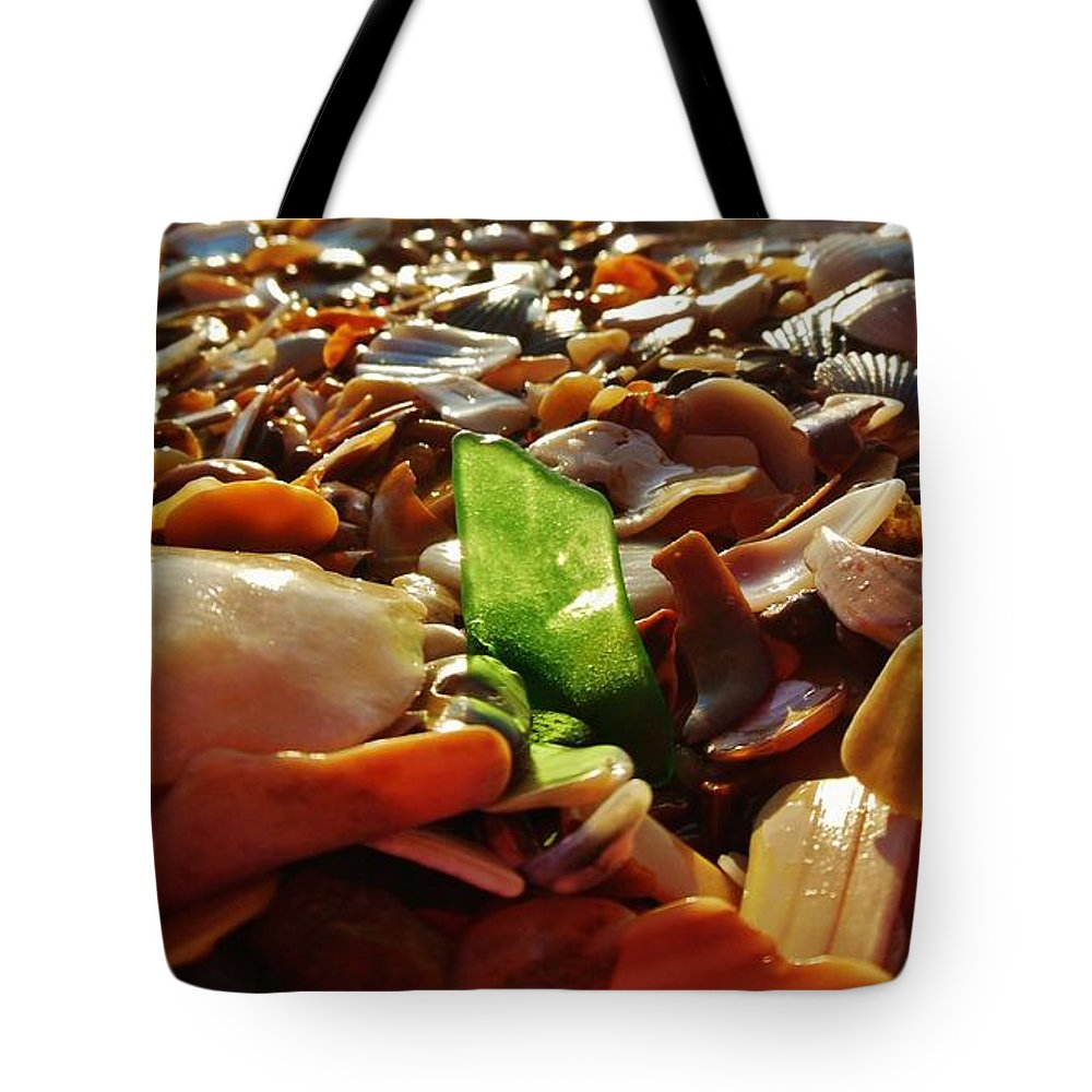 Mark Lemmon Cape Hatteras Nc The Outer Banks Photographer Subjects From Sunrise Tote Bag featuring the photograph Sea Glass And Shells 16 10/2 by Mark Lemmon