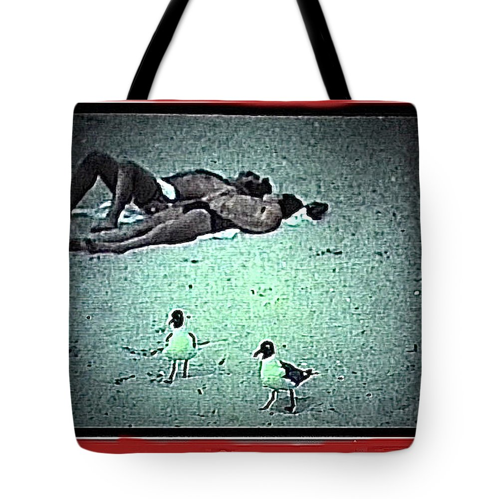 Sea Gulls And Sunbathers Collage Coney Island New York City 1977 Color Added Tote Bag featuring the photograph Sea Gulls And Sunbathers Collage Coney Island New York City 1977-2013 by David Lee Guss