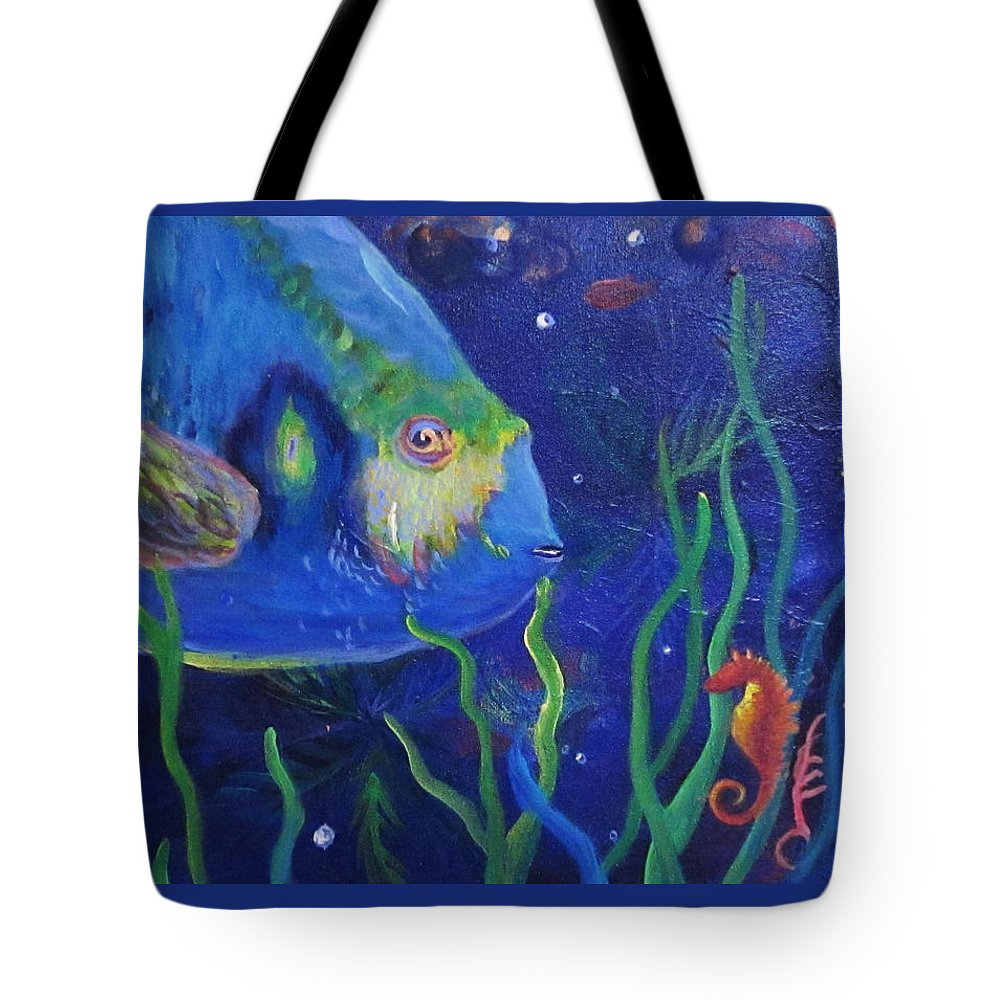 Fish Tote Bag featuring the painting Sea Horse And Blue Fish by Anne Marie Brown