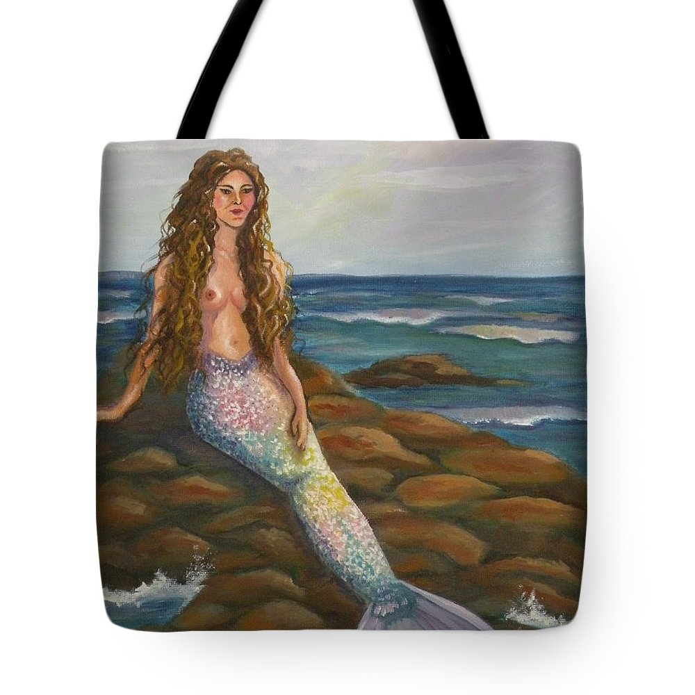 Mermaid Tote Bag featuring the painting Sea Maiden by Lora Duguay