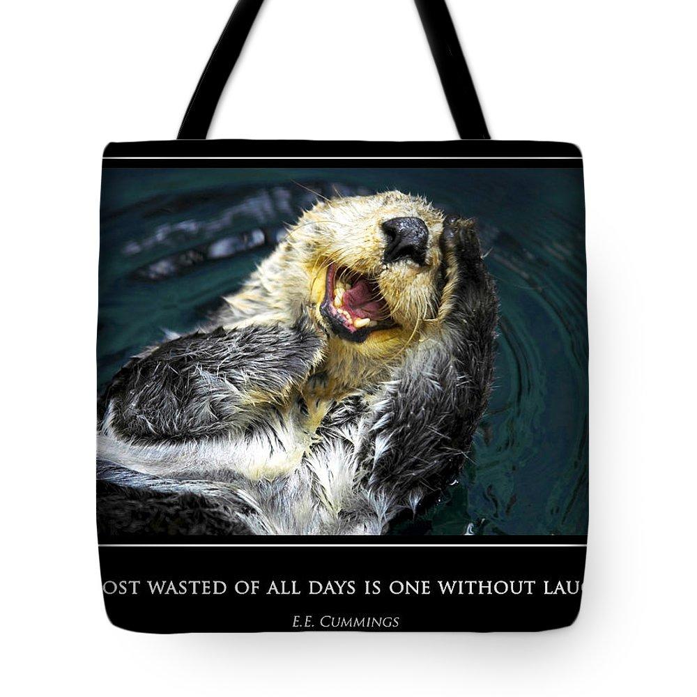 Sea Tote Bag featuring the photograph Sea Otter Motivational by Fabrizio Troiani