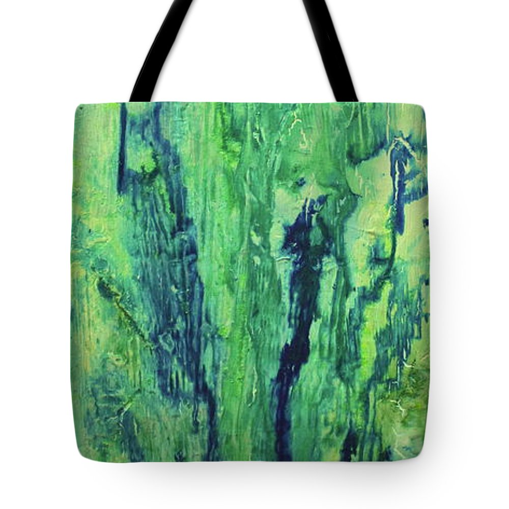 Abstract Tote Bag featuring the painting Sea Spring by Shelly Sexton