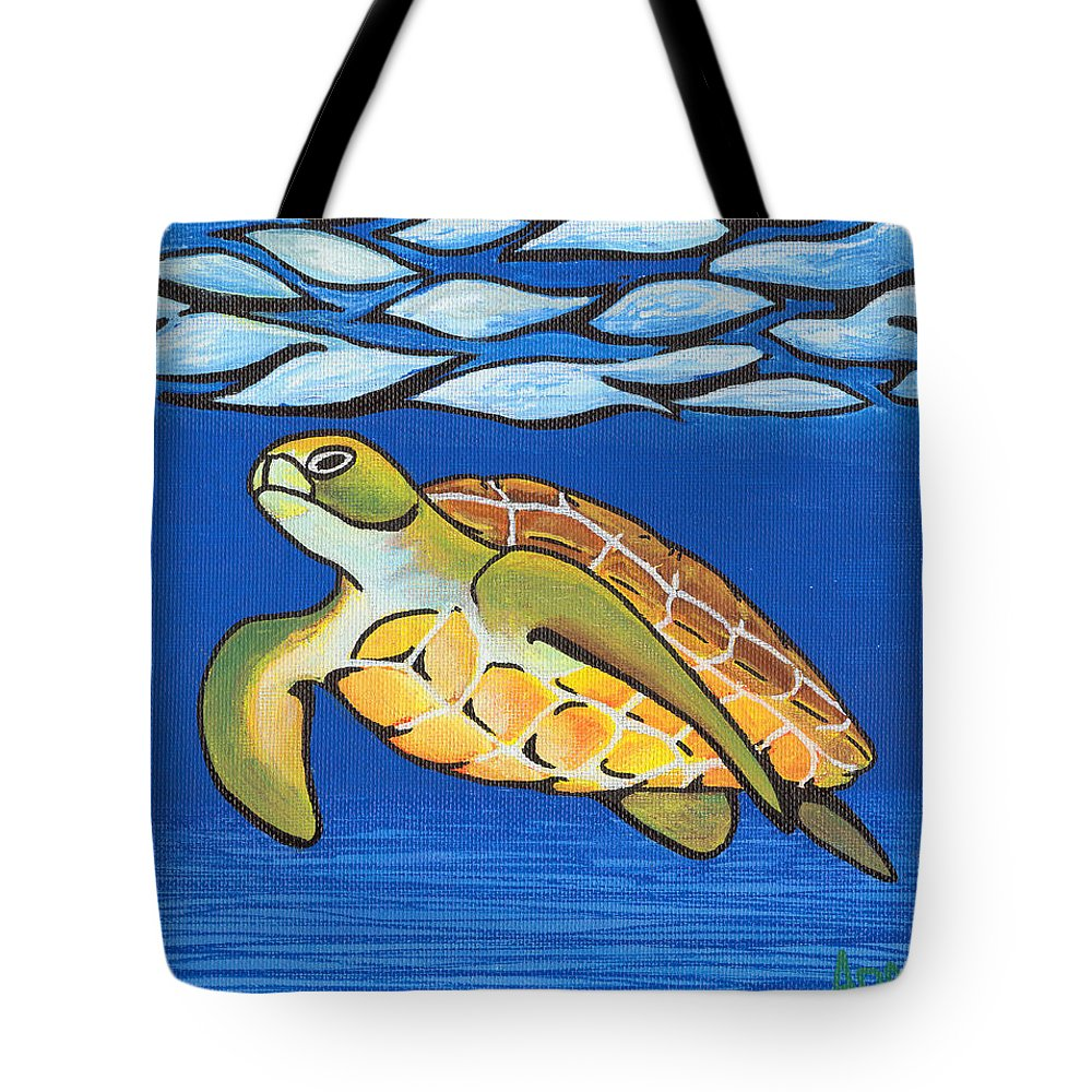 Sea Tote Bag featuring the painting Sea Turtle by Adam Johnson