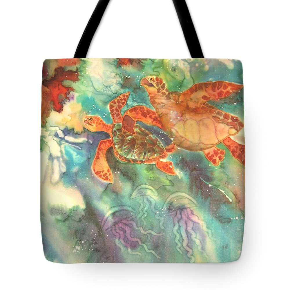 Turtles Tote Bag featuring the painting Sea Turtles by Deborah Younglao
