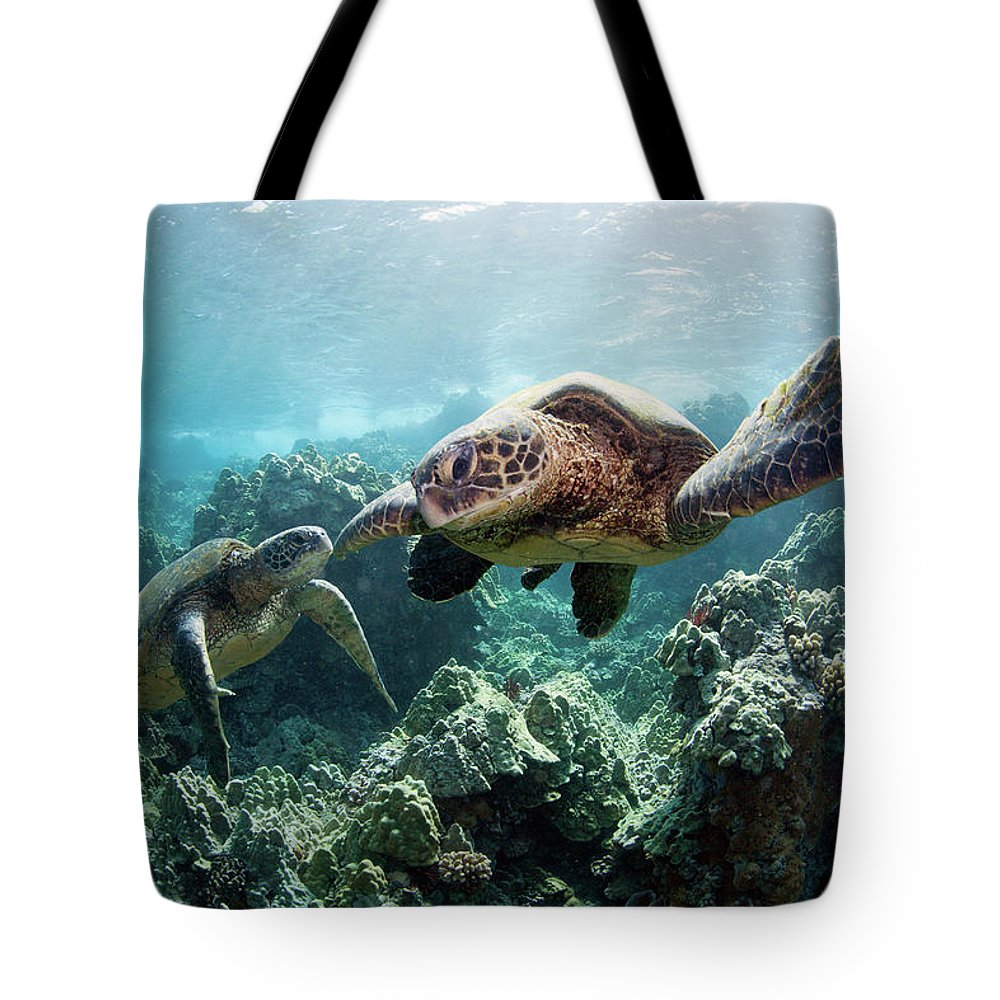 Underwater Tote Bag featuring the photograph Sea Turtles by M Swiet Productions