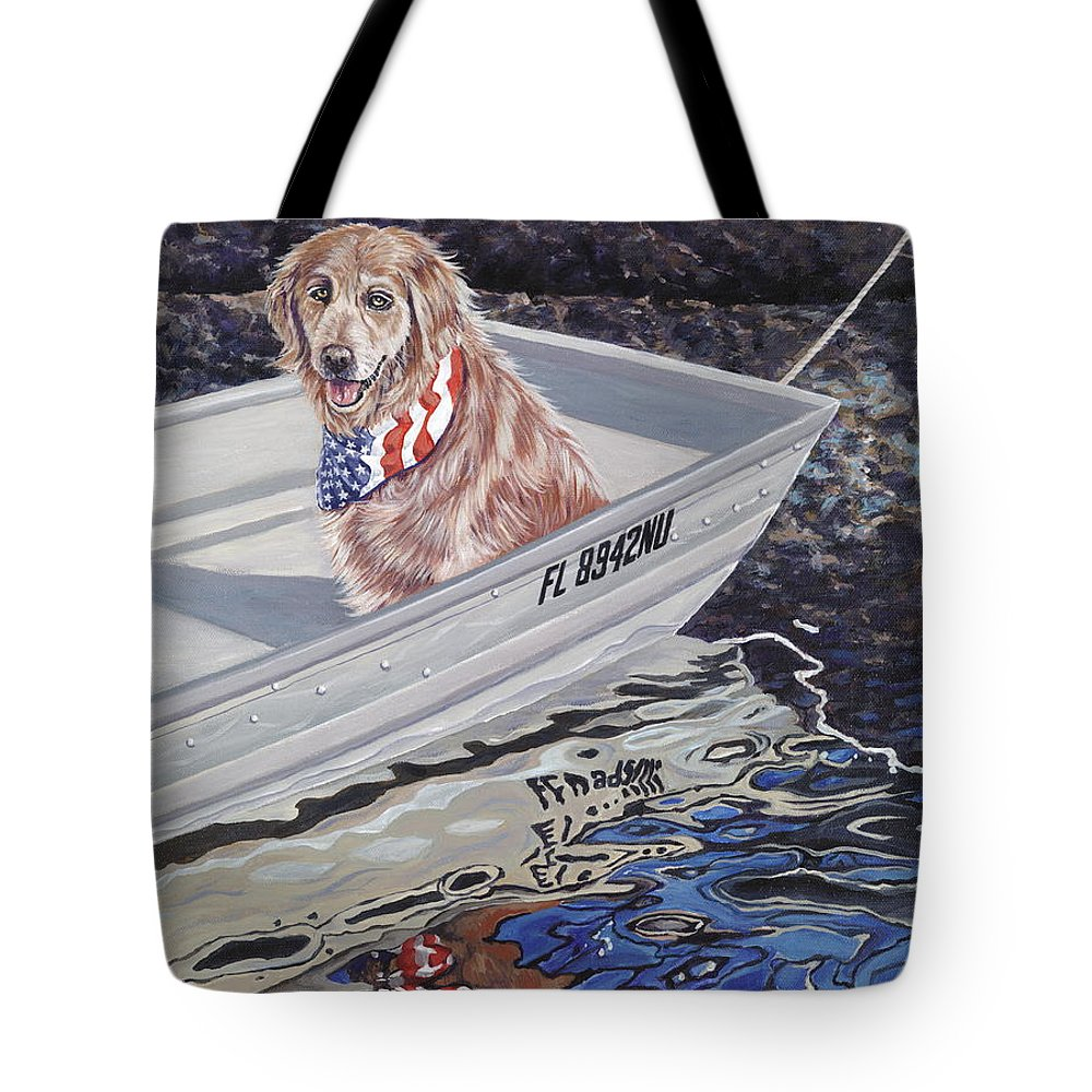 Golden Retriever Tote Bag featuring the painting Seadog by Danielle Perry