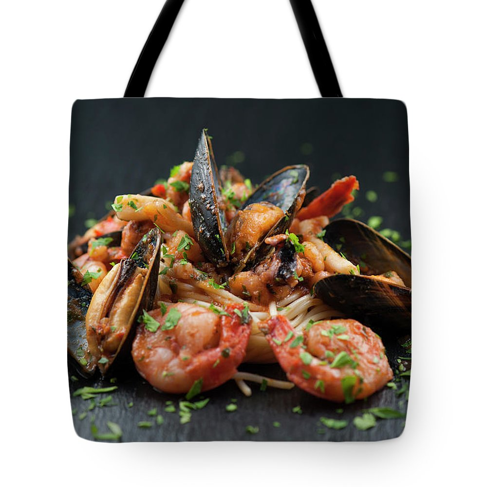 Prawn Tote Bag featuring the photograph Seafood Pasta by Cbording