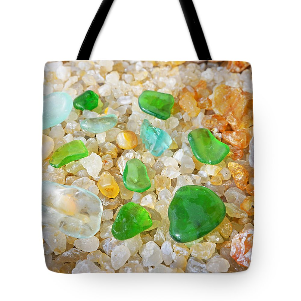 Decorative Tote Bag featuring the photograph Seaglass Green Art Prints Agates Beach Garden by Baslee Troutman