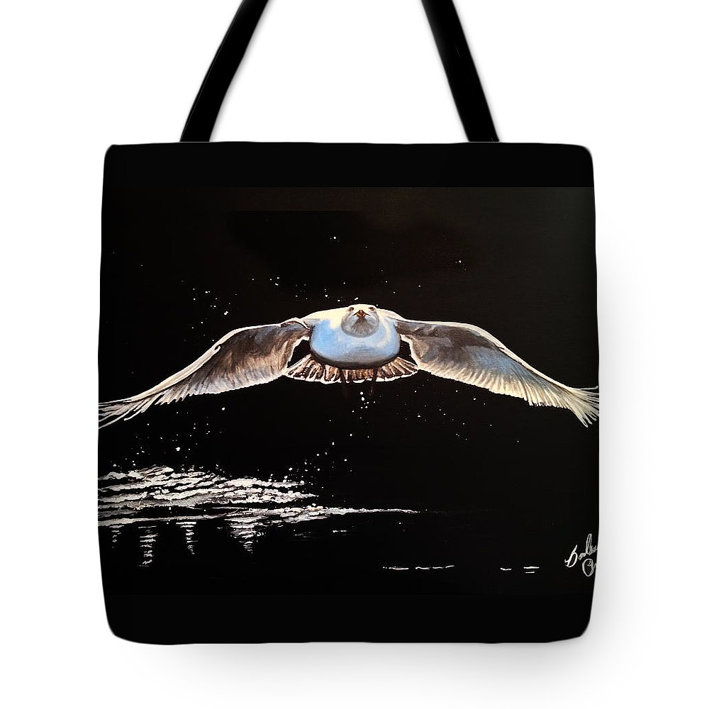 Barbara Andrews Tote Bag featuring the painting Seagull In The Moonlight by Barbara Andrews