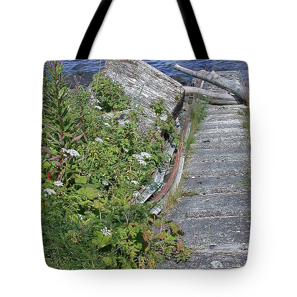 Seagull Steps Tote Bag featuring the photograph Seagull Steps Guard Island Alaska by Bellesouth Studio