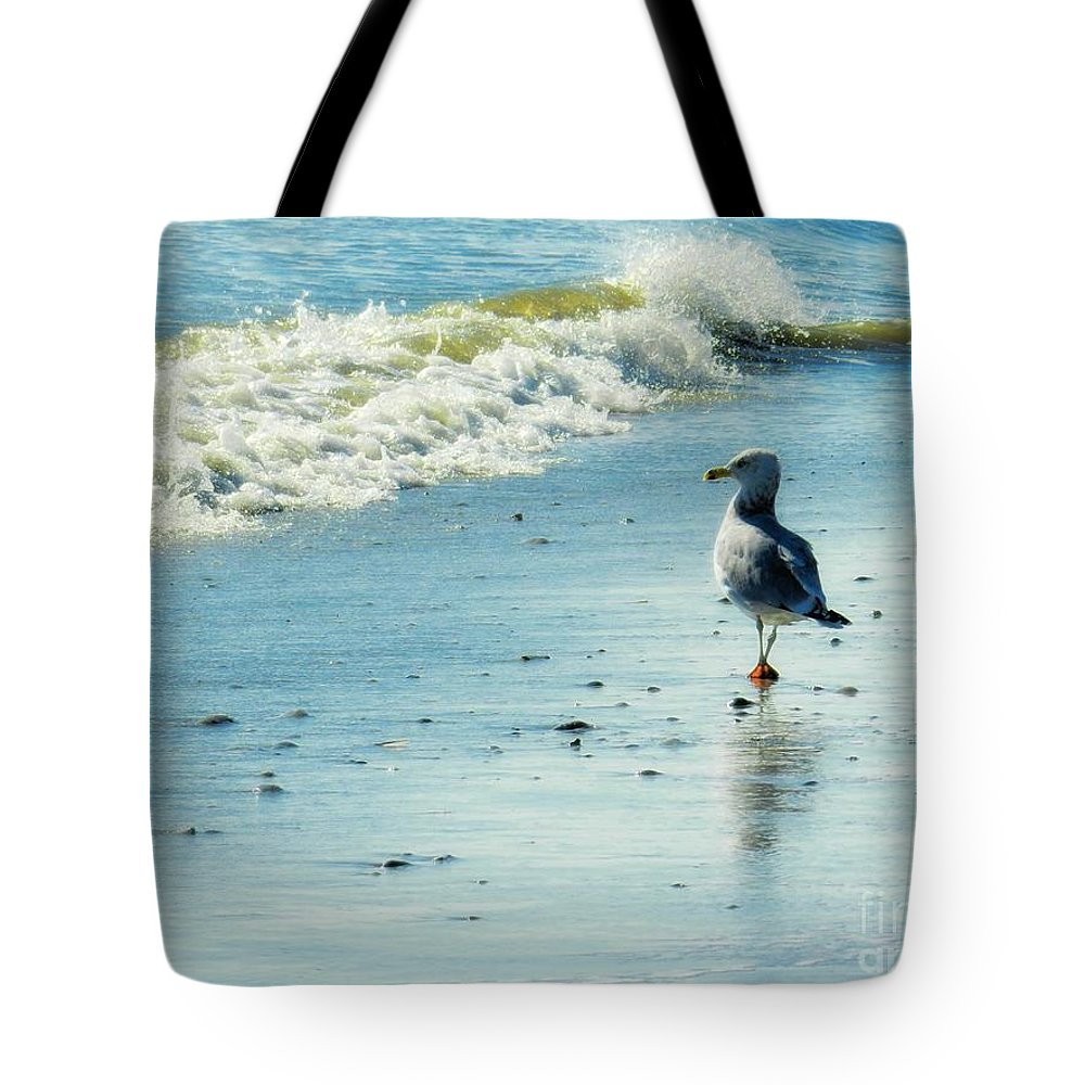 Seagull Tote Bag featuring the photograph Seagull Stroll by Sharon Woerner