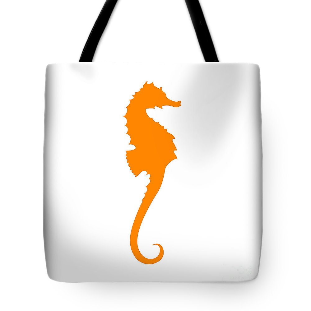 Graphic Art Tote Bag featuring the digital art Seahorse In Orange by Jackie Farnsworth