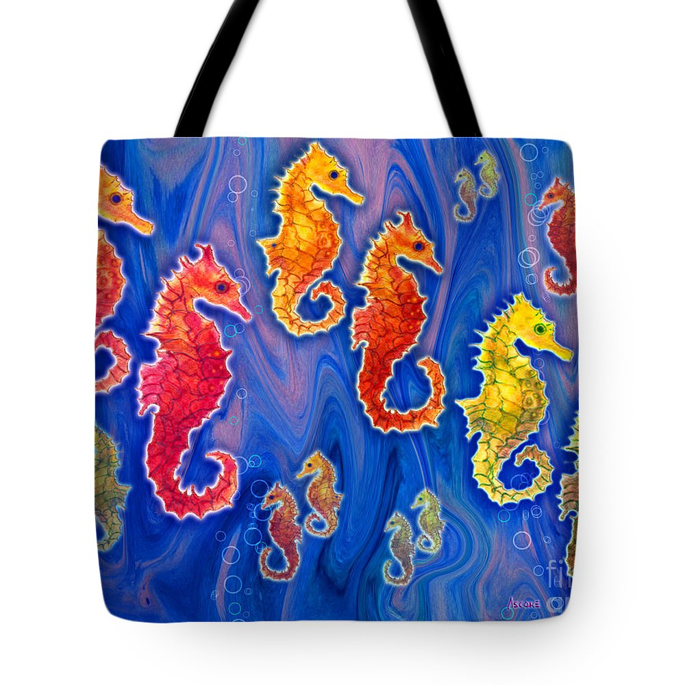 Seahorse Tote Bag featuring the painting Seahorse March by Teresa Ascone