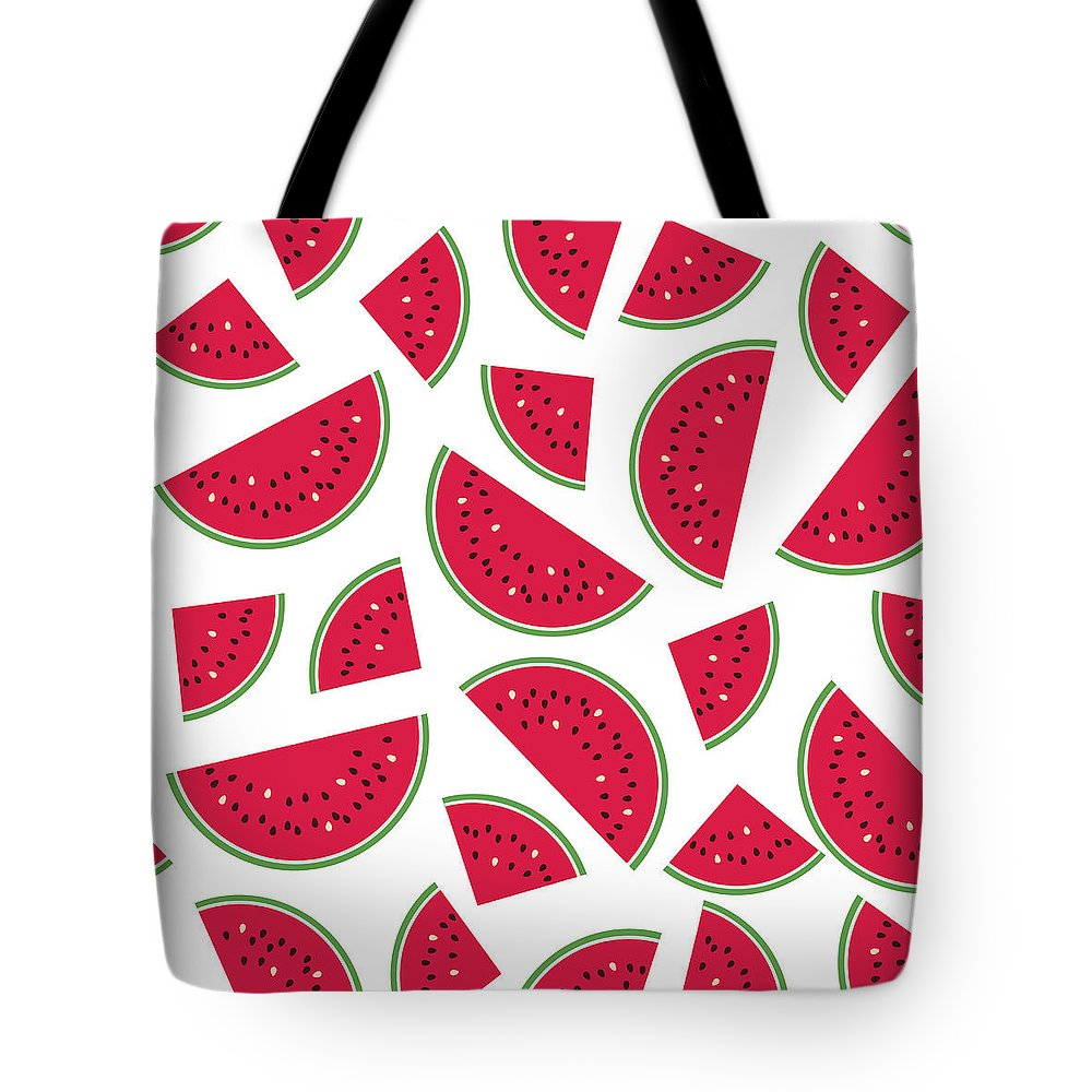 Art Tote Bag featuring the digital art Seamless Colorful Pattern With Red by Ekaterina Bedoeva