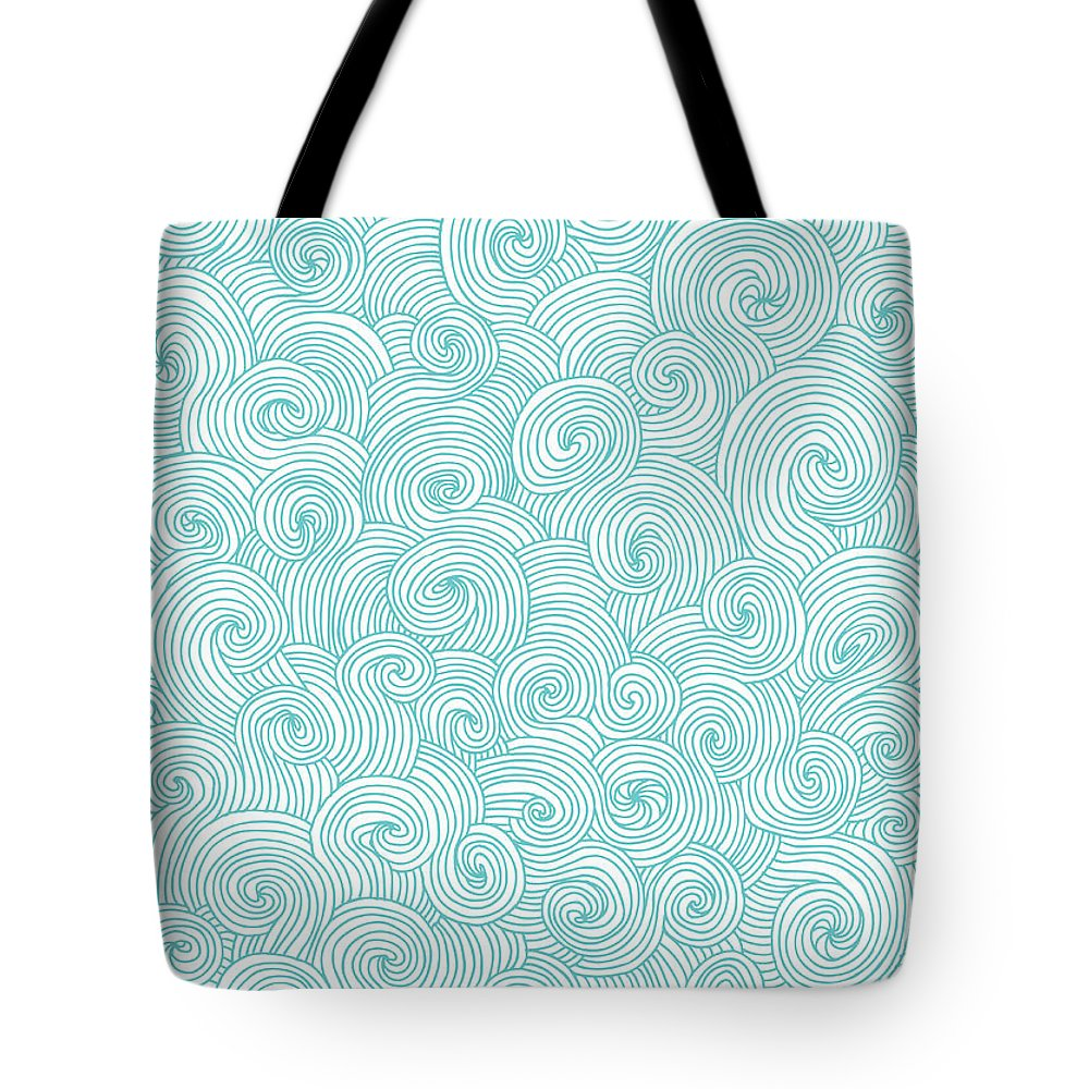 Curve Tote Bag featuring the digital art Seamless Pattern Of Doodle Swirls And by Beastfromeast